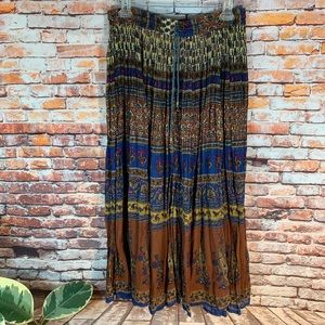 Vintage Maxi Broom Skirt In Boho Festival Colors
